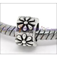 Entrepieza plata tibetana rondel flor 9x8 mm, taladro 5.3 mm