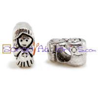 Abalorio plata tibetana niña 13x8.5 mm, taladro 5 mm