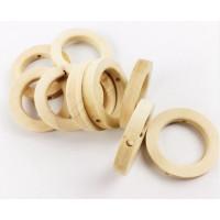 Aros de madera natural taladrados manualidades- 30 mm int 19 mm