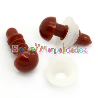 Ojos de plastico redondo marrón chocolate 13x6 mm - 20 uds