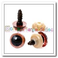 Ojos de seguridad marrones con pupilas- 10 mm - 4 uds