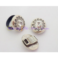 Base anillo ZAMAK plateado Moneda strass 25x21 mm.Taladro 6x2 mm