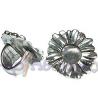 Base anillo ZAMAK baño plata ajustable Flor 35 mm