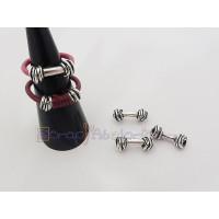 Base anillo ZAMAK baño plata nudos para cuero  17x5 mm