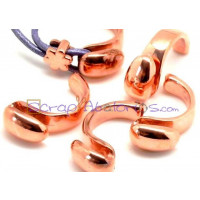Base ZAMAK ORO ROSA medio anillo 30x15 mm, int oval 3.5x2 mm