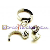 Base ZAMAK, cristal medio anillo 30x15mm, int oval 5x2 mm