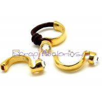 Base ZAMAK dorado cristal med anillo 30x15mm,int oval 5x2mm