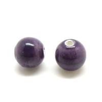 Bola de porcelana 12 mm, lila  taladro 2,8 mm