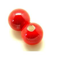 Bola de porcelana 18 mm, rojo , taladro 4 mm