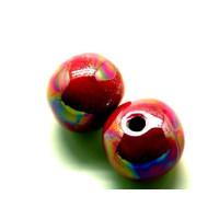 Bola de ceramica 22 mm, rosa irisidado, taladro4.5-5 mm