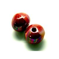 Bola de ceramica 22 mm, rojo irisidado, taladro4.5mm