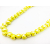 Bola de ceramica 8 mm, amarillo, taladro 3 mm