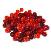 Rondel cristal checo 5-8 m, taladro 1.2-3 mm- Rojos- 20 gr