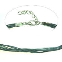 Base collar cordon colgante de organza gris 50cm