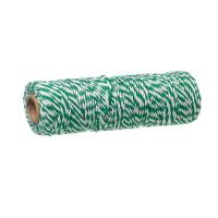 Cordon algodon 1.5mm baker twine- Verde y Blanco - 1 metro