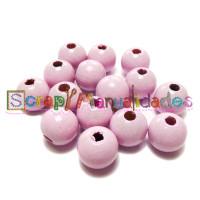 Bolita de madera antibaba 10 mm Color Rosa Bebe
