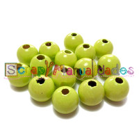 Bolita de madera antibaba 10 mm Color Verde Limon