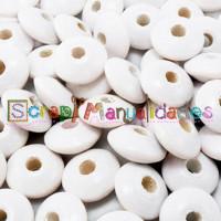 Lenteja de madera 10x5 mm antibaba -Color Blanco