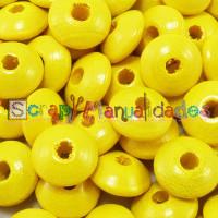 Lenteja de madera 10x5 mm antibaba -Color Amarillo