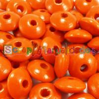 Lenteja de madera 10x5 mm antibaba -Color Mandarina