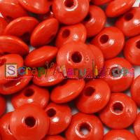 Lenteja de madera 10x5 mm antibaba -Color Rojo