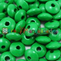 Lenteja de madera 10x5 mm antibaba -Color Verde