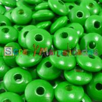 Lenteja de madera 10x5 mm antibaba -Color Verde Hierba