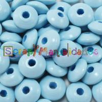 Lenteja de madera 10x5 mm antibaba -Color Azul Bebe