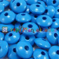 Lenteja de madera 10x5 mm antibaba -Color Azul Medio