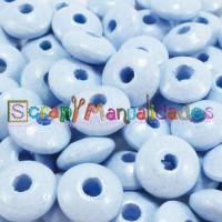Lenteja de madera 10x5 mm antibaba -Color Azul Pastel