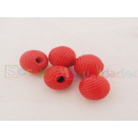 Bolsita 10 bolitas de madera rayada 10 mm Color Rojo 014