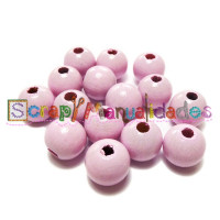 Bolita de madera antibaba 12 mm Color Rosa Bebe