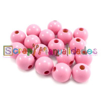 Bolita de madera antibaba 12 mm Color Rosa Claro