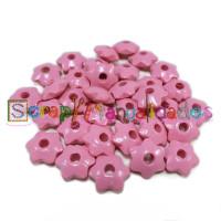 Lenteja de madera 12x5 mm antibaba ESTRELLA - Rosa claro 03