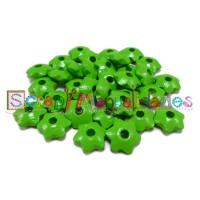 Lenteja de madera 12x5 mm antibaba ESTRELLA - Verde lima 16