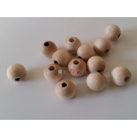 Bola madera de haya sin lacar- Tamaño 15 mm- Taladro 3.5 mm