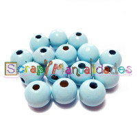 Bolita de madera antibaba 15 mm - Color Azul Bebe 18