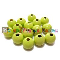 Bolita de madera antibaba 18 mm - Color Verde limon 26