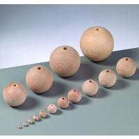 Bola madera de haya sin lacar- Tamaño 25 mm- Taladro 6 mm