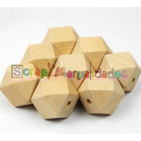 Poliedro de madera sin lacar- Tamaño 20 mm- Taladro 3 mm