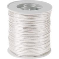 Bobina de cordon de saten 1 mm, color blanco ( 50 metros)