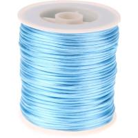 Bobina de cordon de saten 1 mm, color azul clarito ( 50 metros)