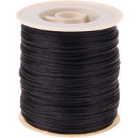 Bobina de cordon de saten 1 mm, color negro ( 50 metros)