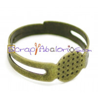 Base anillo metal bronce 18 mm