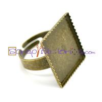 Base anillo bronce cuadrada 20x20 mm con ribete