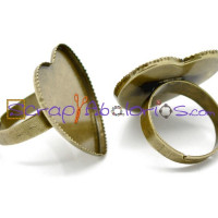 Base anillo bronce 18.3 mm corazon camafeo 25x23 mm