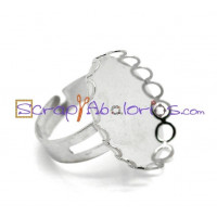 Base anillo plateado 18.3 mm, con camafeo ribeteado 25x18mm