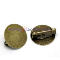 Broche redondo 15 mm bronce con cierre facil - 10 uds