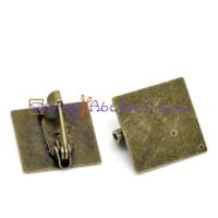 Broche cuadrado 15x15 mm bronce con cierre facil - 5 uds