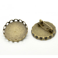Broche camafeo bronce ribeteado 27 mm ( int 25 mm)
